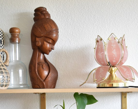 boho mid century pink glass gold metal lotus flower table lamp