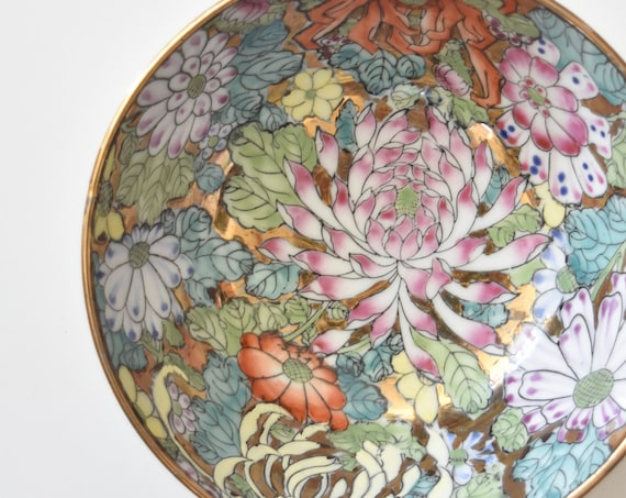 decorative gorgeous pink hand painted floral chinese asian bowl | lotus flower pattern