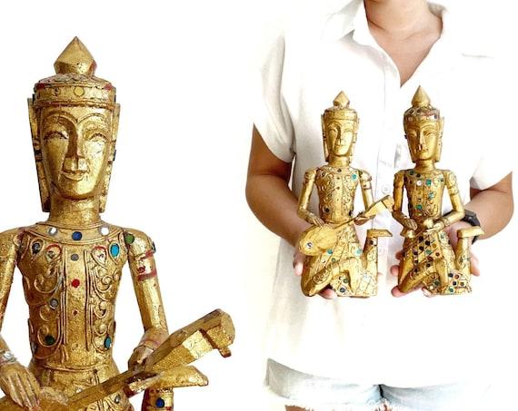 wall hanging gold wooden Buddha sculpture figurine | set of 2