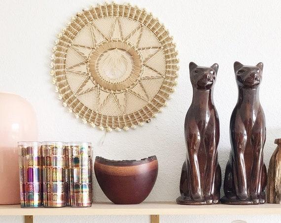 tall mid century modern brown ceramic cat sculptures figurine | set of 2 siamese feline kittens