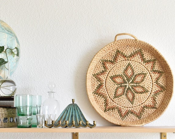 1970's large southwestern woven straw wall hanging basket with handles / flower / star
