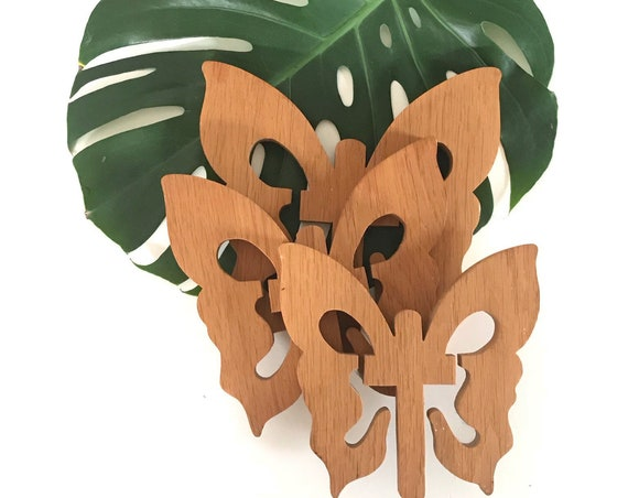 carved wooden butterfly figurine trivets | wall hanging butterflies | set of 3