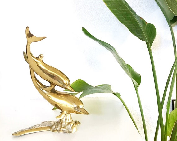 large solid brass dolphin figurine / paperweight / nautical