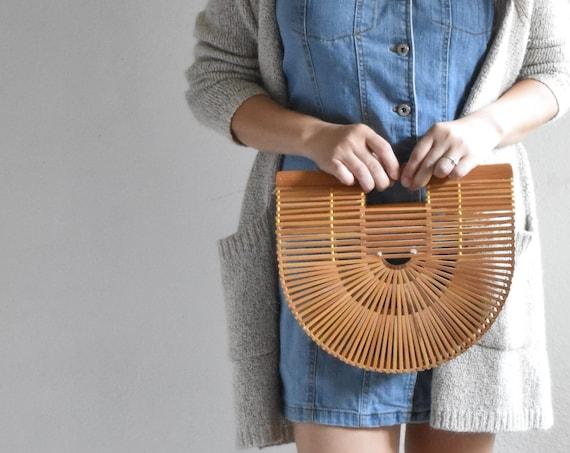 vintage bamboo wood handbag clutch / boho geometric rattan purse