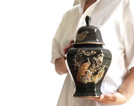 japanese black peacock and flower ceramic pottery flower ginger jar | housewarming gift