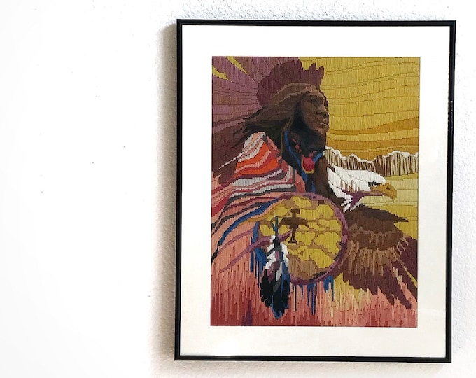 vintage framed native american chief needlepoint crewel wall hanging artwork | tribal indian art