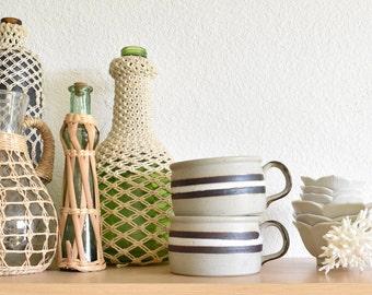 vintage set of 2 striped stoneware soup bowls / pair