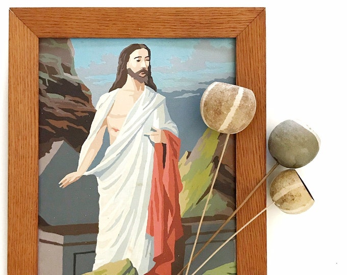 vintage framed jesus paint by number painting / religious / christian
