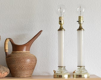 tall mid century modern white cylinder opaline table lamp set of 2
