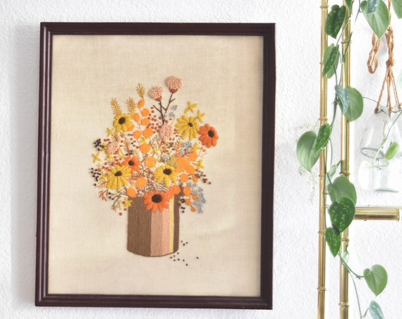 yellow fall autumn mid century embroidered cross stitch crewel art / framed picture / needlepoint / wall hanging