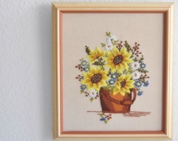 large yellow fall autumn mid century cross stitch crewel tree art / framed picture / needlepoint / wall hanging