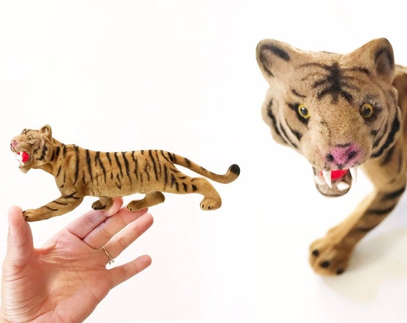 vintage fuzzy flock velvet tiger figurine