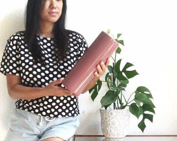 pink modernist ceramic cylinder flower vase