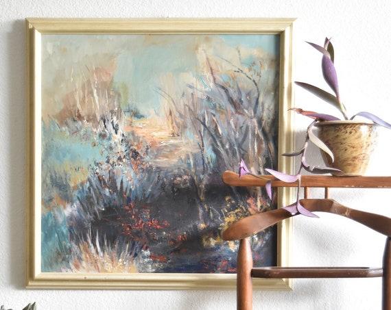 framed original vintage blue impressionist floral garden landscape painting | blue garden