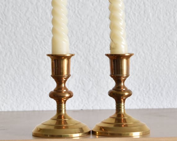 heavy solid brass candlestick holders / candleholder set