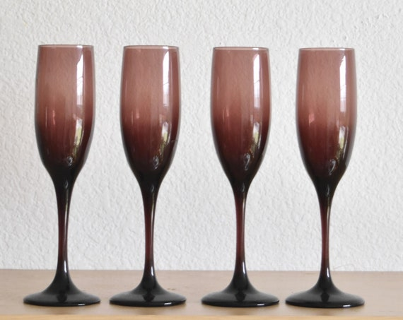 set of 4 libbey amethyst violet purple glass flutes / champagne wine stemware