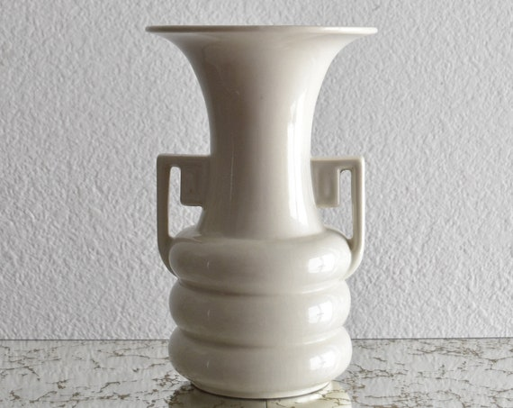 mid century modern abingdon art deco white ceramic vase with handle / flower pot