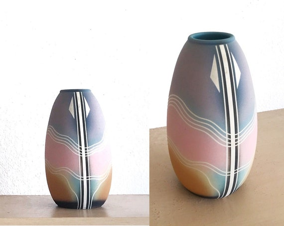 pastel pink multicolored mesa verde pottery navajo etched hand painted ceramic wedding vase / flower pot