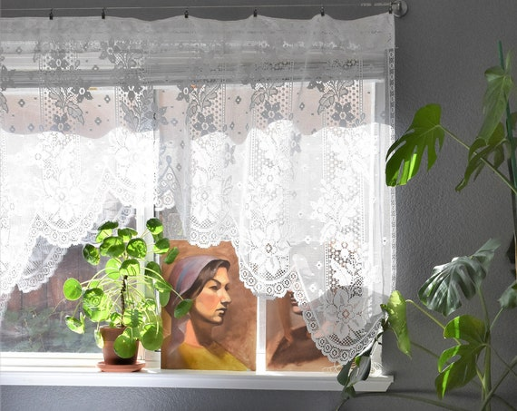 boho sheer short white floral flower lace window curtain panel / cottage chic farmhouse decor