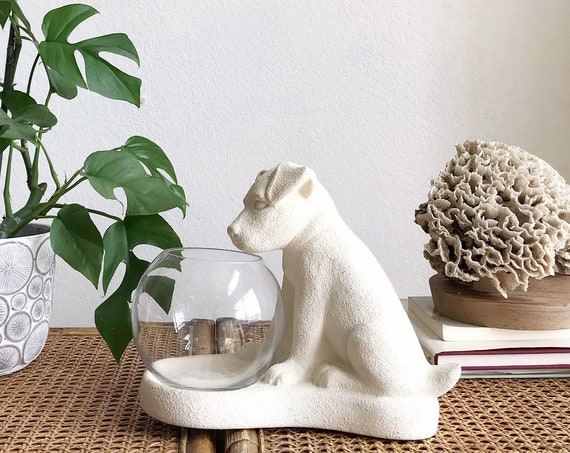 haeger white bisque pottery puppy dog glass fish bowl figurine sculpture | lab dog statue