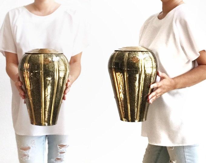 art deco mid century modern black brass flower vase pot