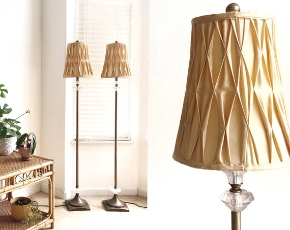 set of two elegant gold crystal matching floor lamps