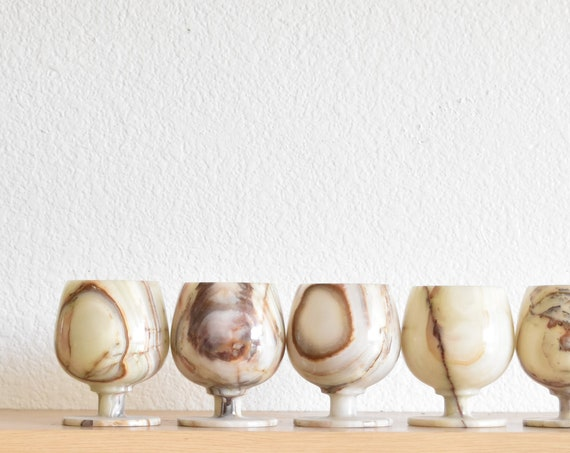 set of carve white brown marble goblets | onyx drinking cups | barware gift
