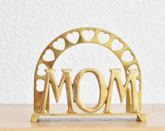solid brass mom office paperweight | heart napkin holder