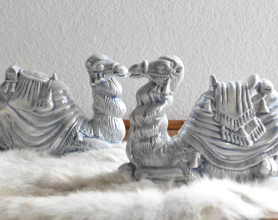 large vintage porcelain blue white camel figurine sculpture / 2 available