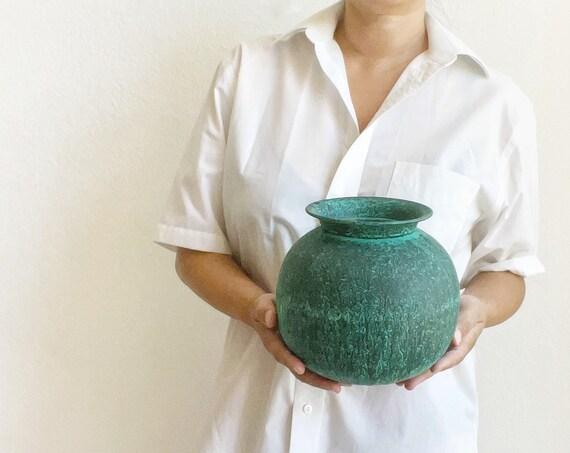 round mid century turquoise green metal flower vase pots