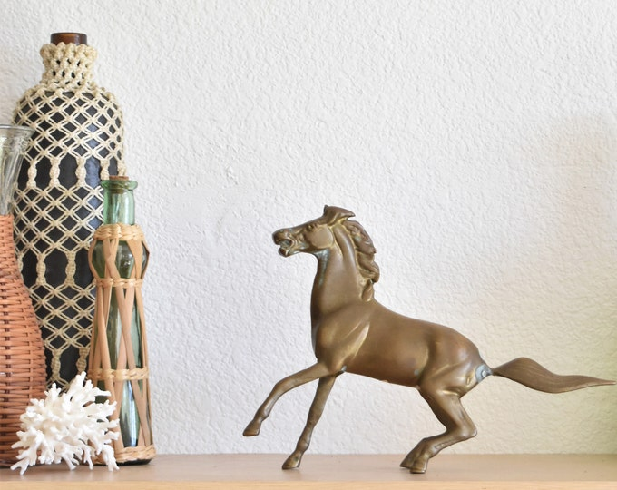 mid century heavy solid brass horse figurine / stallion / paperweight / shelf display