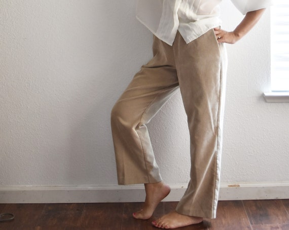 80's vintage womens pocketed highwaist beige corduroy trouser pants size 6 8