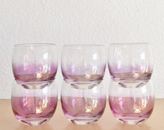mid century set of 6 pink purple roly poly cocktail brandy glasses / low ball cups / gift barware