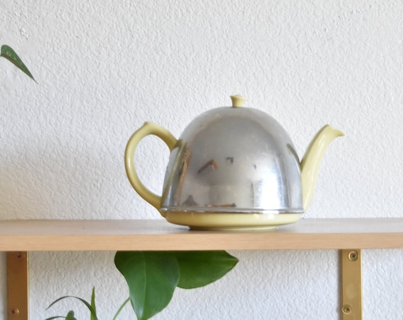 mid century insulated cover ceramic metal yellow teapot /  heatmaster
