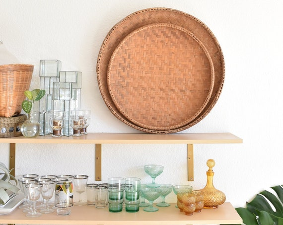 "19"" large circle shaped shallow woven bamboo rattan basket / rice winnowing basket / circle shape"