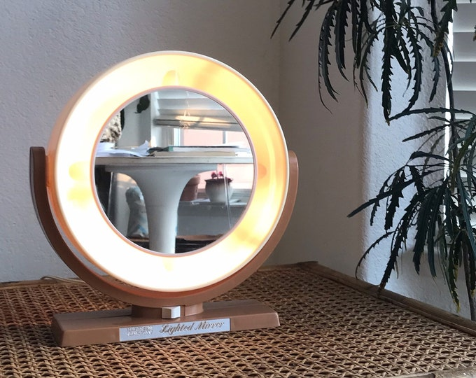 retro light up circle brown pink double sided vanity makeup mirror | electric maginfying folding mirror