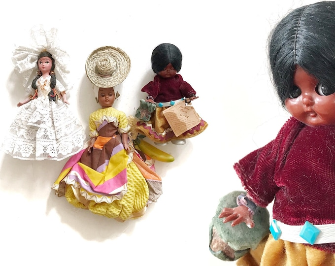 vintage handcrafted black mexican indian american doll figurine toy