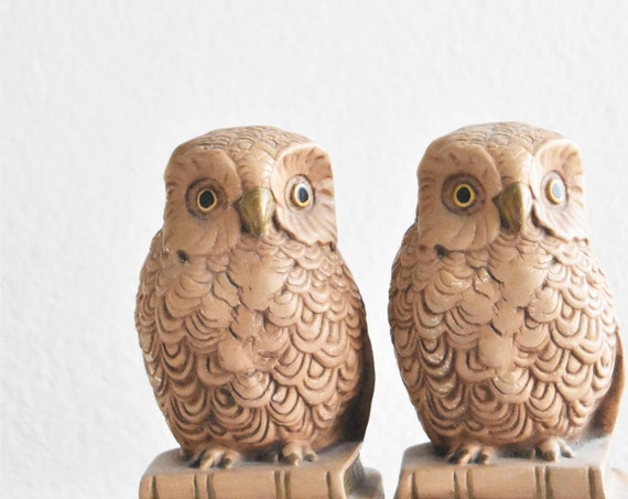 1960s mid century brown owl figurine bookends / library office decor