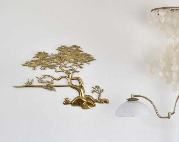 large mid century solid brass asian tree sculpture wall hanging art / bonsai tree and bird figurine