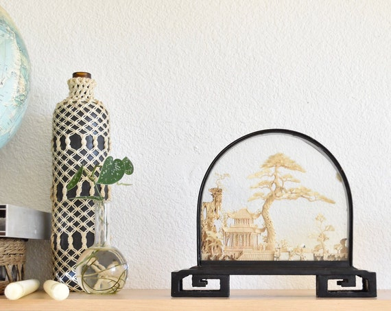 large asian chinese mid century cork diorama egret tree glass curio display
