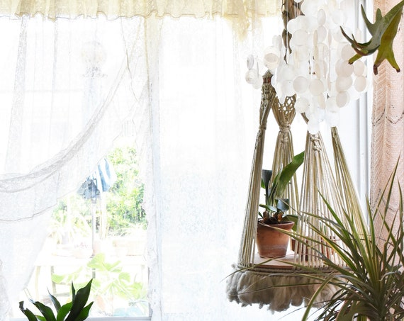 large beaded white macrame plant hanger table / indoor plant holder / long hanging pot