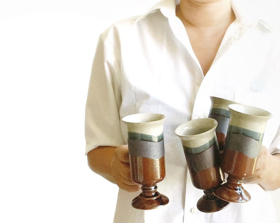 set of 4 blue brown stoneware striped mug goblets / gift coffee lover