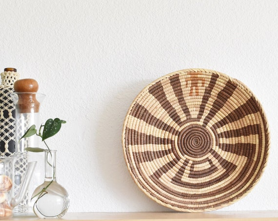 "14"" tribal earth tone brown woven straw coiled basket 