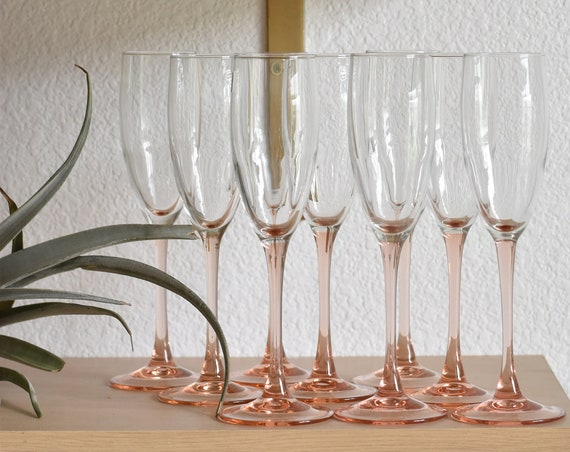 1980s luminarc set of 9 rose pink flutes stemware champagne glasses / barware