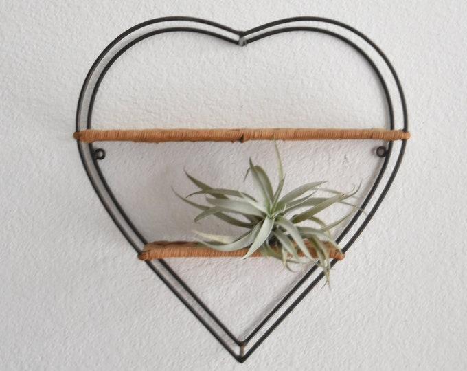 vintage heart wicker metal wire wall shelf / rack