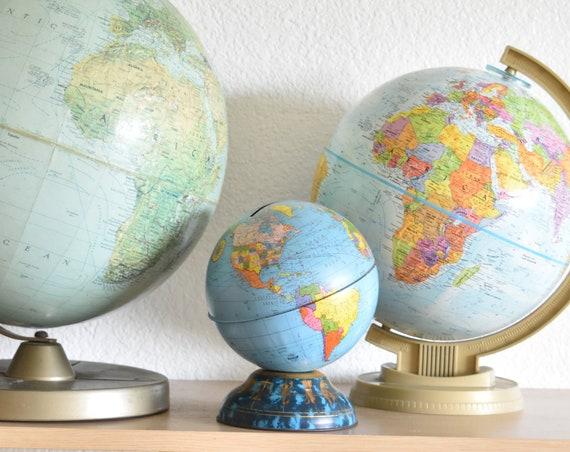 metal multicolored vintage world globe piggy bank / coin bank