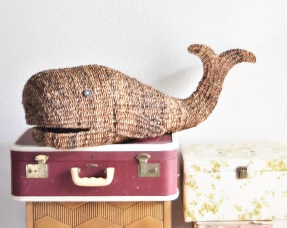 large woven wicker whale figurine sculpture | baby kid bedroom nursery decor