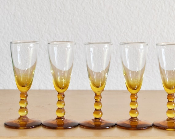 set of 7 orange amber glass stemmed shot glasses / gift barware
