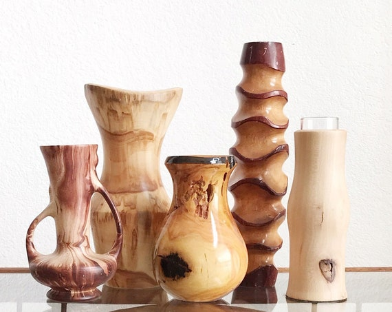 mid century modern natural wood flower vase sculptures