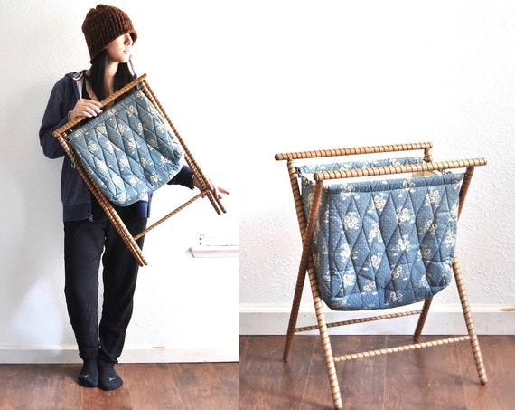 vintage blue folding fabric sewing basket with wood handle / knitting tote